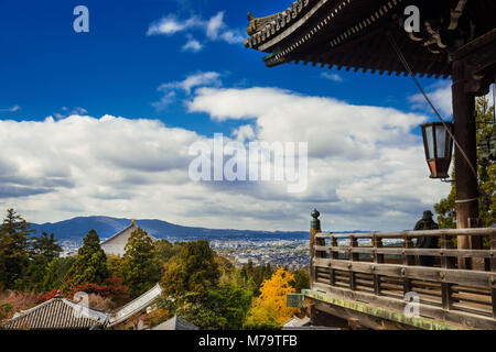 Panoramic view of the old city of Nara, the ancient capital of Japan, with old temple roofs - Stock Photo