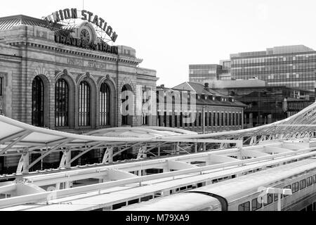 Union Station, Denver, Colorado USA. Renovated Union Station in Downtown Denver - Stock Photo