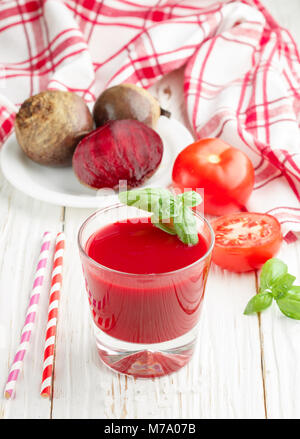Detox beet smoothie with tomatoes and Basil. Selective focus - Stock Photo