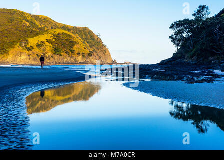 Man walking on beach where Tapotupotu Stream enters Tapotupotu Bay, near Cape Reinga, North Island, New Zealand - Stock Photo
