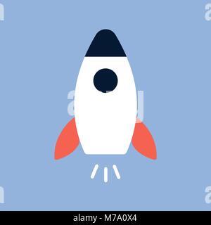 Flat style, rocket vector icon illustration. - Stock Photo
