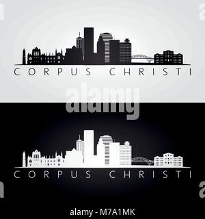 Corpus Christi usa skyline and landmarks silhouette, black and white design, vector illustration. - Stock Photo