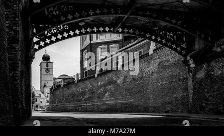 Sibiu below The Bridge of Liars and with the Council Tower in background. - Stock Photo