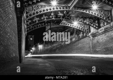 Sibiu at night below The Bridge of Liars and with the Council Tower in background. - Stock Photo
