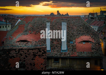 Sibiu, Romania. The city where houses have eyes. - Stock Photo
