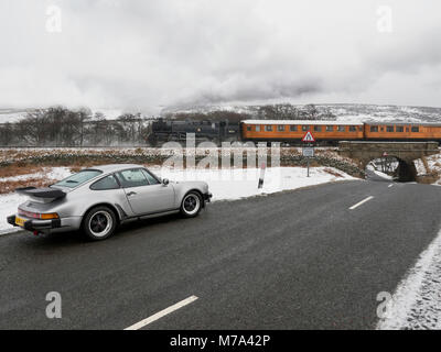 1979 Porsche 911 Turbo on a road in Goathland North Yorkshire UK - Stock Photo