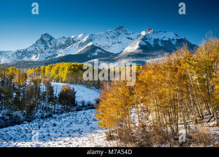 North Pole Peak and Hayden Peak in Sneffels Range, under snow, aspen grove in fall foliage, view at sunrise from - Stock Photo