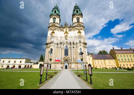 Baroque style Basilica of the Assumption of the Blessed Virgin Mary in Krzeszow, Poland - Stock Photo