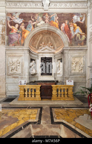 The Sybils receiving instruction from Angels by Raphael and the Chigi Chapel - Santa Maria della Pace - Rome - Stock Photo