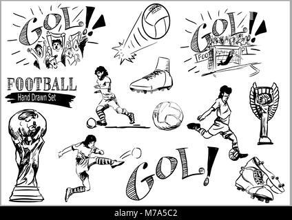 Football hand drawn icon set - Stock Photo