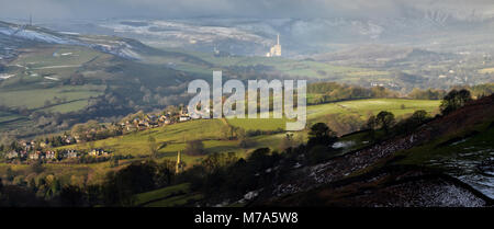 Hathersage from Mitchell Field - Stock Photo