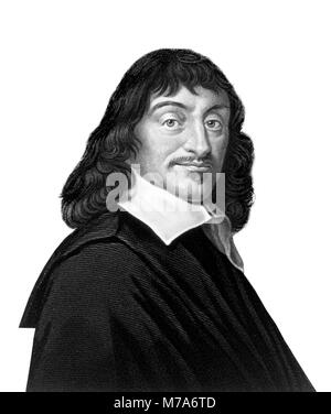 Descartes. Portrait of the French philosopher Rene Descartes (1596-1650), engraving by W. Holl after painting by - Stock Photo