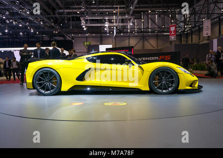 The Hennessey Venom F5 on show at the Geneva Motor Show at the Palexpo Convention Centre, March 07, 2018 in Geneva, - Stock Photo