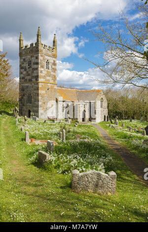 St Wynwallow's Church, Landewednack in West Cornwall - Stock Photo
