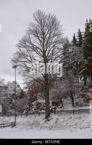 Snow and ice in Santo Stefano d'Aveto - Liguria - Italy - Stock Photo