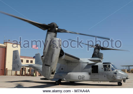 Bell Boeing MV-22 Osprey. An MV-22 Osprey, from Marine Medium Tiltrotor Squadron 162, waits for supplies at U.S. - Stock Photo