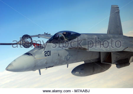 Boeing FA-18E Super Hornet. An F/A-18E Super Hornet assigned to the Kestrels of Strike Fighter Squadron 137, based - Stock Photo