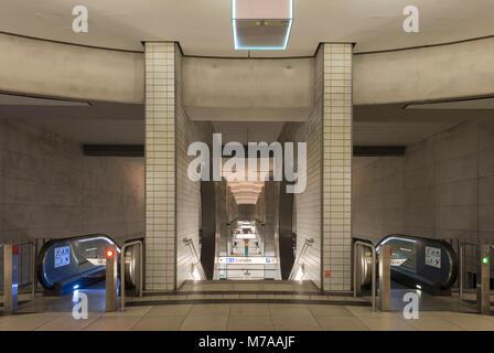 Access to the platform, subway station Bockenheimer Warte, Frankfurt am Main, Hesse, Germany - Stock Photo
