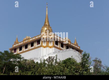 Phu Khao Thong, Golden Mountain, in Wat Saket, district Pom Prap Sattru Phai, Bangkok, Thailand - Stock Photo