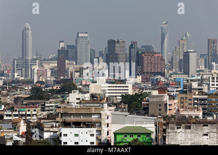 District Pom Prap Sattru Phai and Skyline Siam Square, view from Golden Mountain, Bangkok, Thailand - Stock Photo