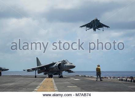 OCEAN (April 21, 2017) AV-8B Harriers assigned to the 'Ridge Runners' of Marine Medium Tiltrotor Squadron (VMM) - Stock Photo