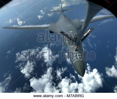 South Dakota Airmen ready to 'Fight Tonight' from Guam. Two U.S. Air Force Rockwell B-1B Lancersassigned to the - Stock Photo