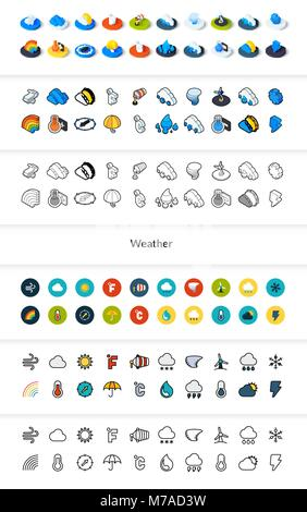 Set of icons in different style - isometric flat and otline, colored and black versions, vector symbols - Weather - Stock Photo