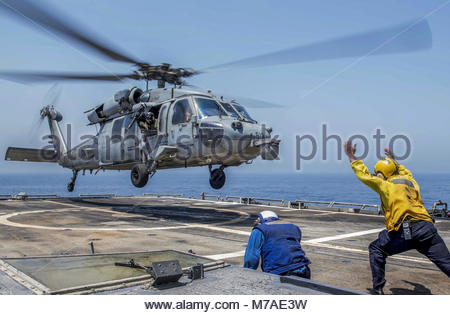 Arabian Gulf, CG-59, chock and chains, Deployment, eightballers, Flight Quarters, guided-missile cruiser, helicopter, - Stock Photo