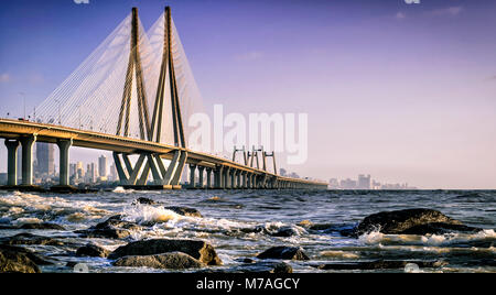 Mumbai Sea Link as from viewed from Bandstand - Stock Photo
