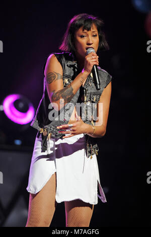 NEW ORLEANS, LA - MARCH 18: Caroline Hjelt and Aino Jawo of Icona Pop perform at Smoothie King Center on March 18, - Stock Photo