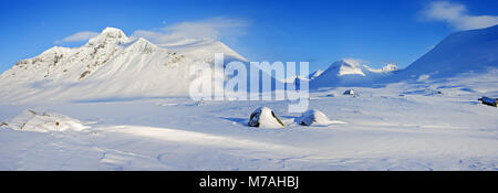 Winter scenery, mountain Pierikpakte and Pastavagge valley, Sarek National Park, Lapland, Swede, - Stock Photo