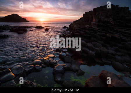 Abstract bile formation on the dream coast of the Giants Causeway, sundown, Northern Ireland - Stock Photo