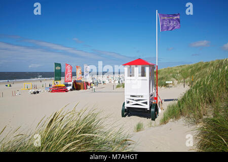 Cart of the lifeguard on the beach of the East Frisian island of Baltrum - Stock Photo