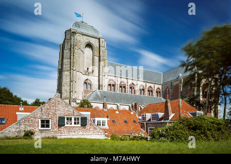 The Grote Kerk (big church) from Veere on Zeeland / the Netherlands in a long time exposure, daylight shot with - Stock Photo