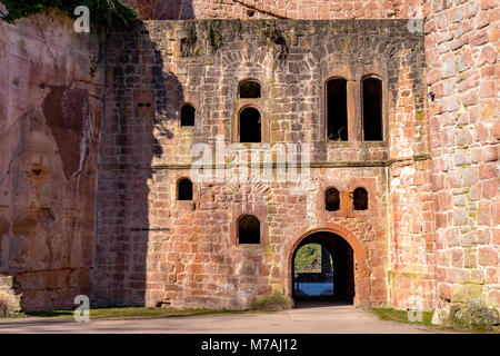 Medieval castle ruin in Germany. Rhineland Palatinate near Bad Duerkheim City. - Stock Photo
