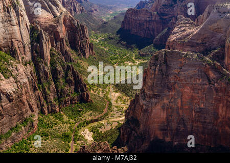 The USA, Utah, Washington county, Springdale, Zion National Park, Zion canyon with Angels Landing, view from observation - Stock Photo