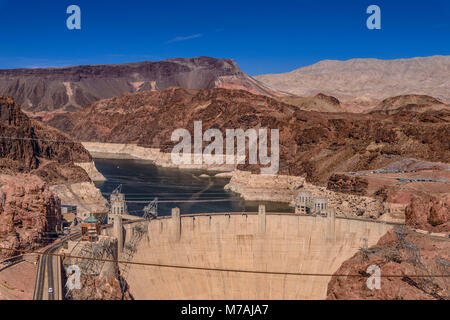 The USA, Nevada, Clark County, Boulder city, Lake Mead National Recreation Area, Hoover Dam - Stock Photo