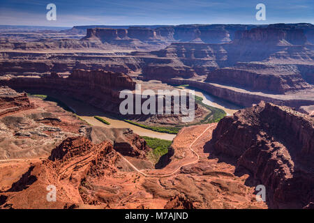 The USA, Utah, San Juan county, Moab, Dead Horse Point State Park, Colorado Gooseneck, Shafer Trail Road, view from - Stock Photo