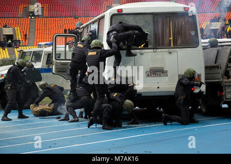 drills of the police special forces to capture terrorists of hostage-taking in a bus in Moscow's stadium Luzhniki - Stock Photo
