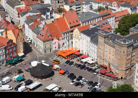 Neuer Markt, roofs, view from the tower of the St. Mary's Church, Old Town, Stralsund, Mecklenburg-Western Pomerania, - Stock Photo