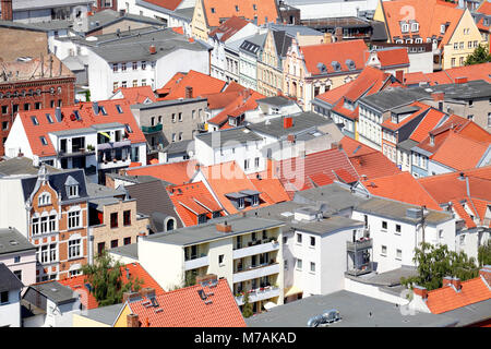 Roofs and houses, view from the tower of the St. Mary's Church, Old Town, Stralsund, Mecklenburg-Western Pomerania, - Stock Photo