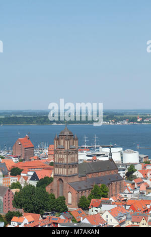 Jakobikirche, roofs, view from the tower of the St. Mary's Church, Old Town, Stralsund, Mecklenburg-Western Pomerania, - Stock Photo