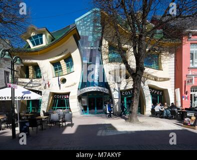 SOPOT, POLAND - APRIL 20, 2017: Krzywy Domek - the world's most crooked house, located on Monte Cassino Street. - Stock Photo