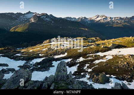 View towards Muttenhorn, Nufenen and Forcella from Hohhoren mountain near Grimsel Pass, Bern / Valais, Switzerland - Stock Photo