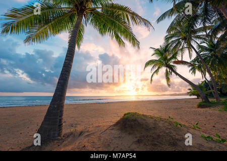 Picturesque sunrise on a Caribbean beach of the island of Puerto Rico,