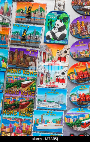 China, Hong Kong, Mong Kok, Ladies Market, Display of Souvenir Fridge Magnets - Stock Photo
