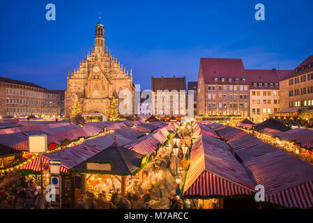 Christmas market in the old town of Nuremberg, Germany - Stock Photo