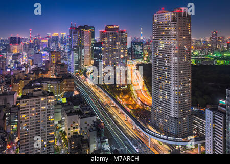 Night skyline of Tokyo with the Skytree in the background, Japan - Stock Photo