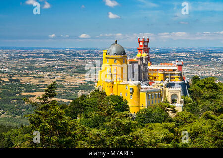 Aerial view of the Pena National Palace in Sintra, Portugal - Stock Photo