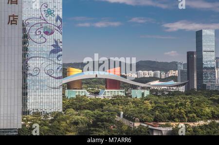 China, Shenzhen City, Fujian District, Civic Center Bldg. - Stock Photo